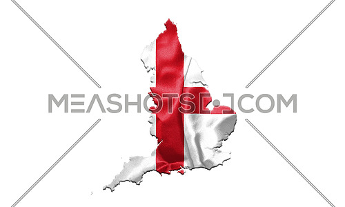 Flag of England With Map Isolated On White Bckground 3D illustration