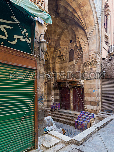 Alley at old historic Mamluk era Khan al-Khalili famous bazaar and souq, with closed shops during Covid-19 lockdown, Cairo, Egypt