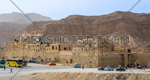 Ras Gharib, Egypt - March 24 2018: Local tourists visiting Saint Paul the Anchorite Monastery located in the Eastern Desert, near the Red Sea mountains