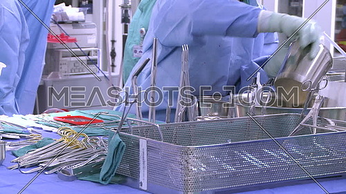 medium shot for Surgical tray while Materials prepared for surgical irrigation