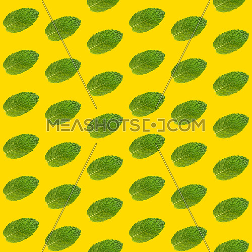 Seamless pattern of fresh green mint leaves on vivid yellow background