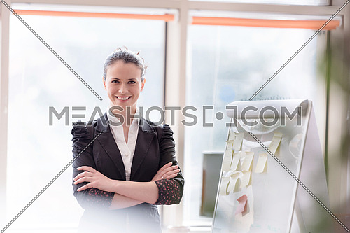portrait of young business woman at modern office with flip board  and big window in background