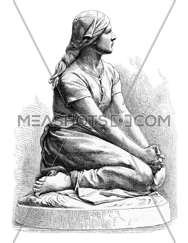 Salon of 1872, Sculpture, Jeanne Dare, inspiration and resolution, by Chapu, vintage engraved illustration. Magasin Pittoresque 1873.