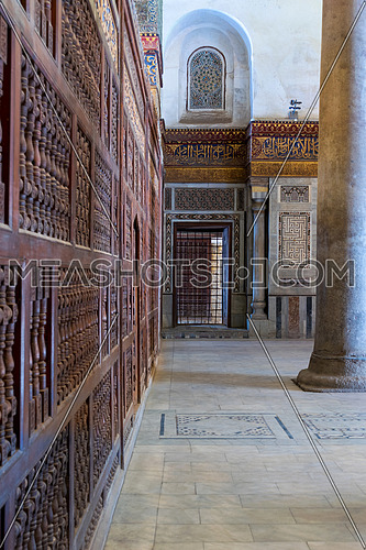Interior view of decorated marble walls surrounding the cenotaph in the mausoleum of Sultan Qalawun, part of Sultan Qalawun Complex, located in Al Moez Street, Old Cairo, Egypt