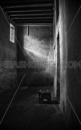 interior black and white image of the the old historic ElSehemy house in cairo egypt