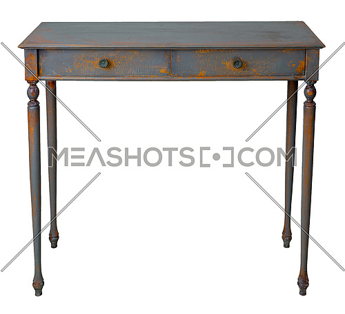 Vintage Furniture - Retro wooden vintage table with two drawers painted in grey and orange, isolated on white background including clipping path