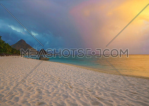 wonderful view of Flic and flac beach at sunset in Mauritius island.
