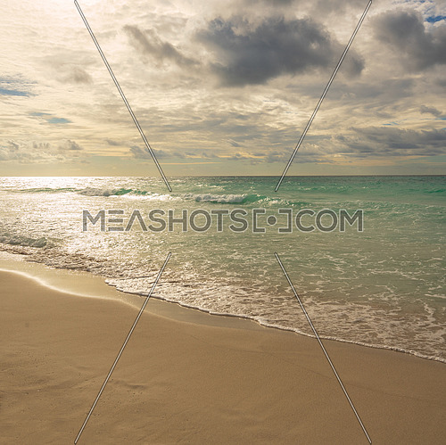 awesome evening on the beach of Varadero, Cuba,square photo.