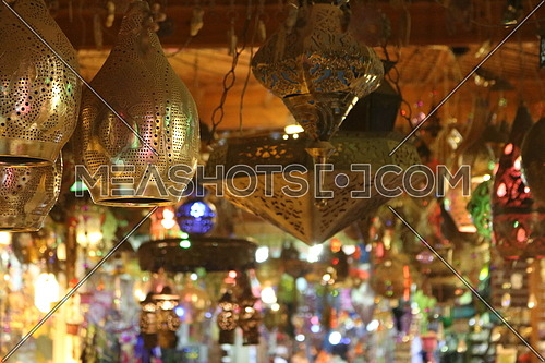 Oriental Arabic lanterns hanging from the ceiling