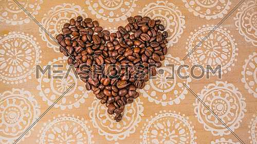 Coffee Beans shaped as heart coffee lover concept
