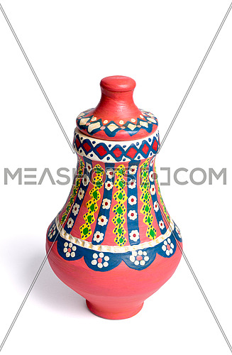 Pink Egyptian handmade decorated colorful pottery vase (Kolla)