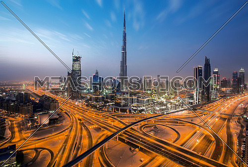 Downtown burj khalifa in Dubai during sunrise