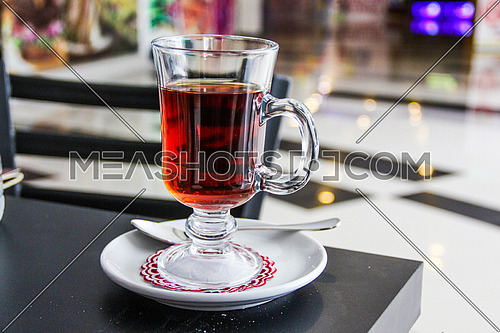 A glass cup of tea