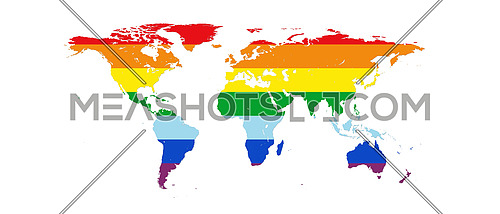 World Map in Peace Colors Isolated on White Background 3D illustration