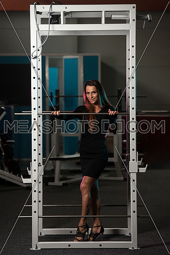 Beautiful Young Woman With Long Hair In A Black Skirt Posing In Gym - Squat Cage
