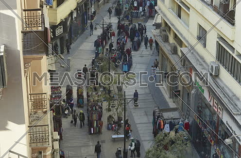 Fixed Shot for Pepole walikng in Al Shawarbi Street at Cairo at Day