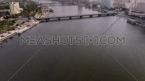 Flying over kasr elnil bridge at Nile in Cairo