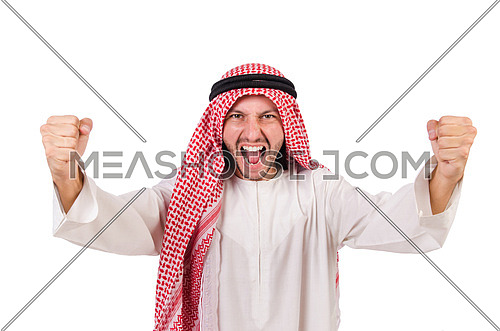 Agressive arab man isolated on white