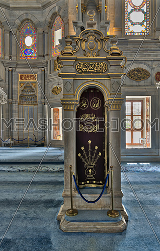 White marble floral golden ornate minbar (Platform) and niche (Mihrab), Nuruosmaniye Mosque, Istanbul, Turkey