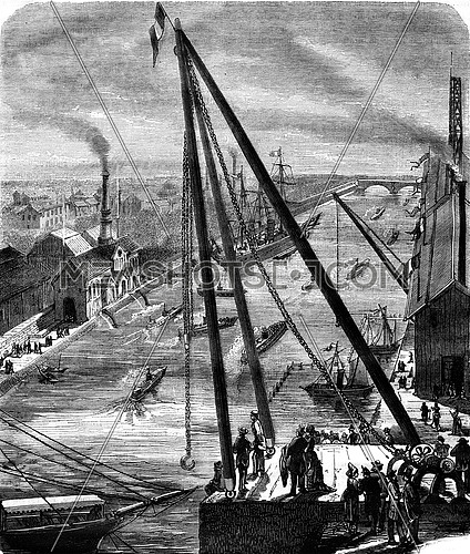 Water supply for the waterfall, The Refrigerated ship, Great Crane, Pavilion of Navigation, vintage engraved illustration. Magasin Pittoresque 1878.