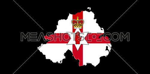 Northern Ireland Ulster Banner. Map With Flag On It Isolated On Black Background 3D illustration