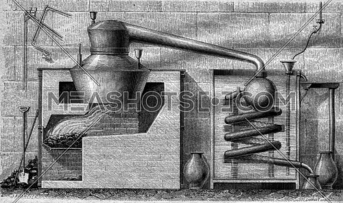 World Expo 1867, Platinum retort for the concentration of sulfuric acid, vintage engraved illustration. Magasin Pittoresque 1867.