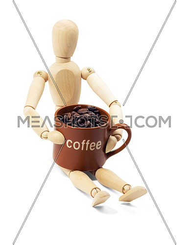 wood mannequin and coffee cup isolated on white background