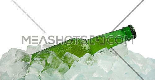 Close up one green glass bottle of cold lager beer on ice cubes at retail display isolated on white background, low angle side view