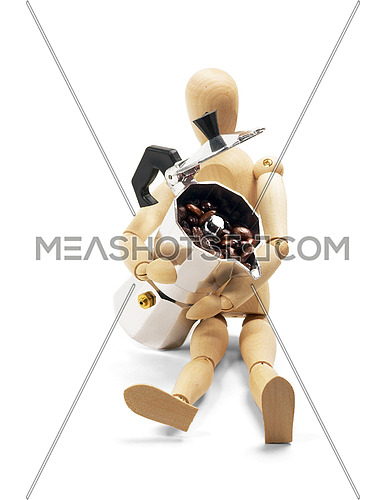 wood mannequin and coffee machine filled with coffee beans isolated on white background