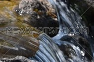 Brook water stream with small rift in day time, focus in, close up