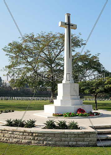 Cross of Sacrifice memorial,Heliopolis Commonwealth War Cemetery, Cairo, Egypt, contains 1742 burials of the Second World War, opened in October 1941