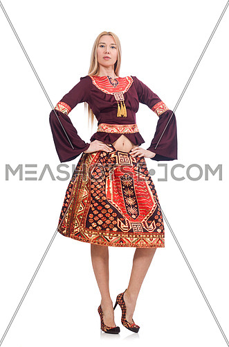 Woman in dress with oriental prints isolated on white