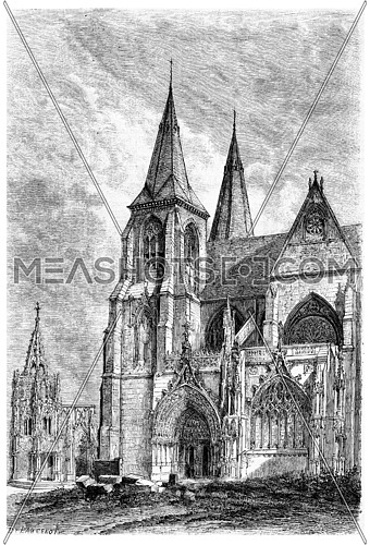 Our Lady of Avioth, vintage engraved illustration. Magasin Pittoresque 1875.