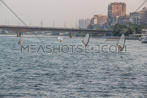 young people windsurfing in river Nile , Cairo , Egypt