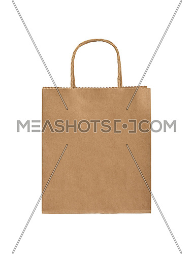 Close up one natural brown paper shopping or gift bag isolated on white, low angle front view