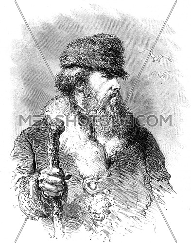 A Russian pilot, vintage engraved illustration. Le Tour du Monde, Travel Journal, (1872).