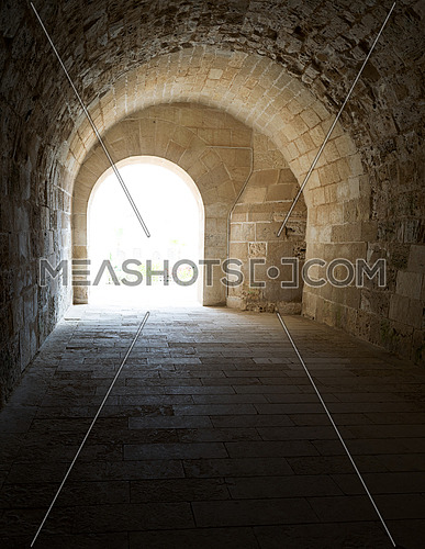 Vaulted Corridor leading to the courtyard of Alexandria Castle, A 15th century defensive fortress located on the Mediterranean sea coast, established in 1477 AD (882 AH)