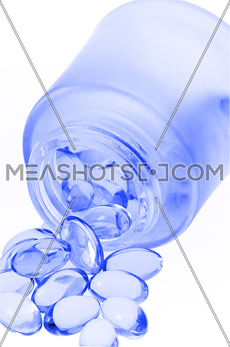 bounch of gel translucent pills on white background