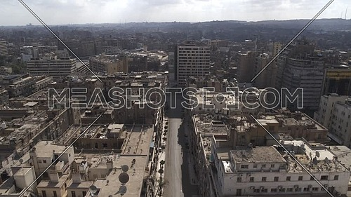 Aerial reveal shot for Cairo Downtown empty streets during the corona pandemic lockdown by day 10 April 2020