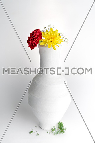 White pottery vase, red and yellow flowers on white background