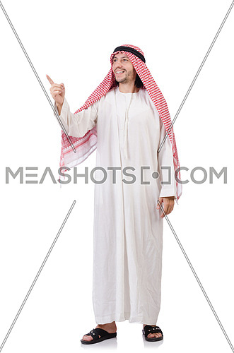 Arab man pressing virtual buttons isolated on white
