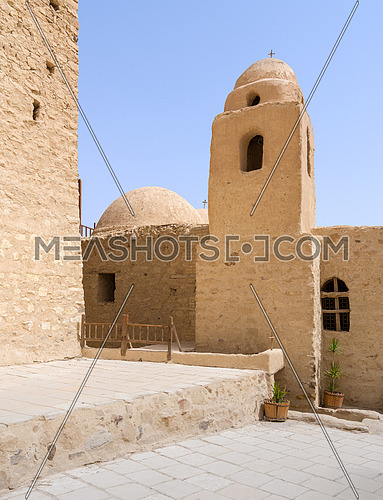 Tower and dome of the Church of St. Paul & St. Mercurius, Monastery of Saint Paul the Anchorite (aka Monastery of the Tigers), dates to the fifth century AD and located in the Eastern Desert, near the Red Sea mountains