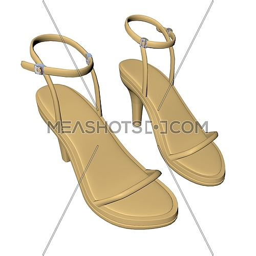 Brown stilleto heels or high heels shoe with ankle strap, 3D illustration, isolated against a white background