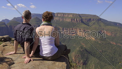 View of couple enjoying Blyde river canyon in Africa