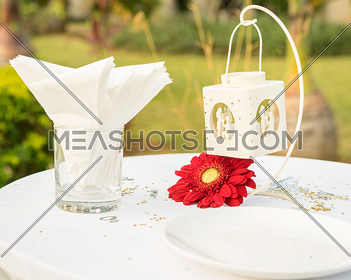 Awesome elegant table set for wedding or event party on white table red flower, outdoor.
