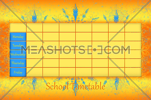 School Timetable Schedule With Colorfull Background 3D illustration