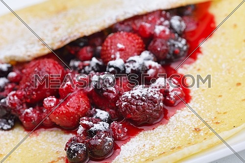 Pancakes with fresh strawberry jam closeup  isolated on whize background healthy organic food breakfast