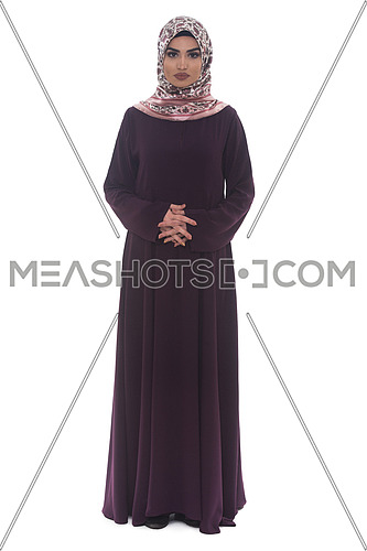 Attractive Arabic Woman With Arms Crossed On White Background
