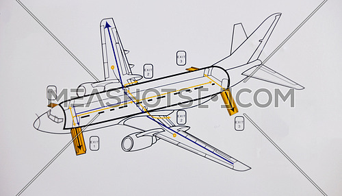 airplane safe and rescue map on white background