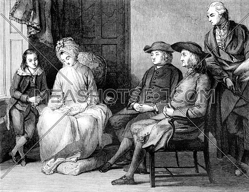 The Family of Benjamin West, vintage engraved illustration. Magasin Pittoresque 1843.